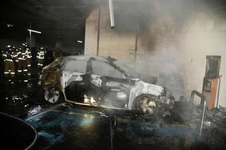 The burnt wreckage of a Hyundai Kona electric vehicle after it caught fire in Daegu, South Korea, on Oct. 4.