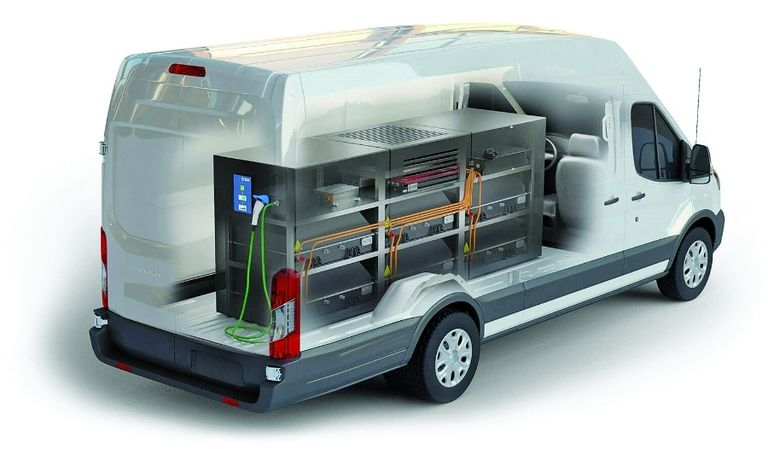 The Lightning Mobile, from Lightning eMotors, is a charging station in the form of a truck or a trailer. Below, roadside assistance providers could be equipped with Blink's mobile charger.