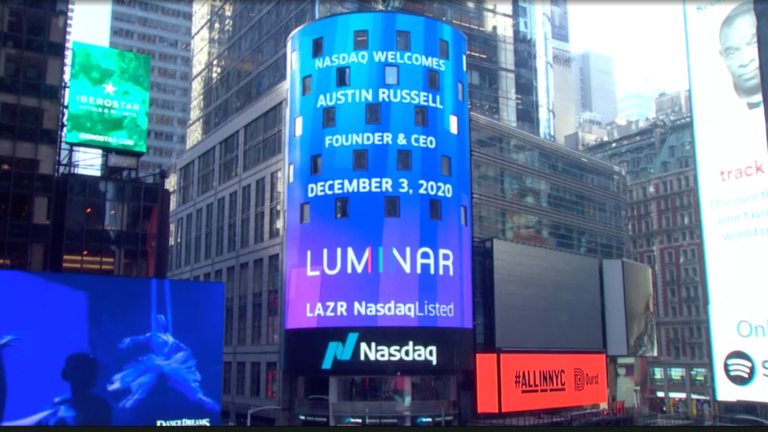 Luminar sign on the Nasdaq exchange