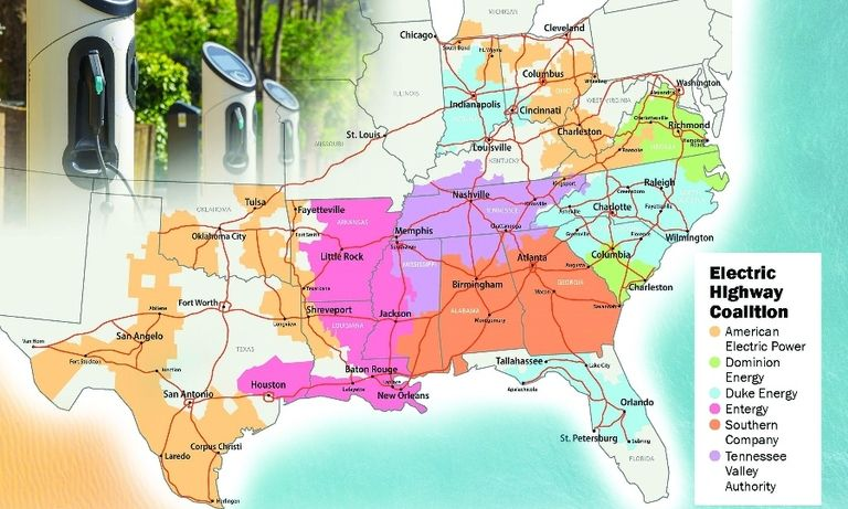 Utilities in South, Midwest to build more EV chargers