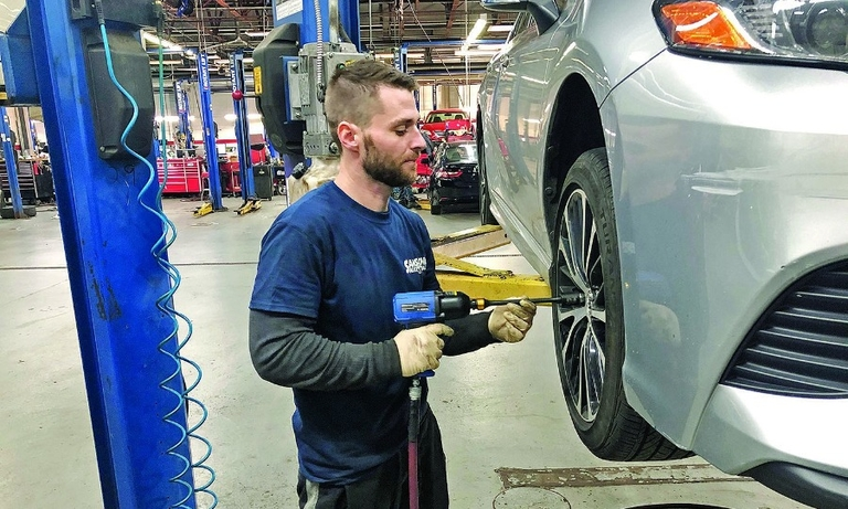 """I had never even picked up an impact gun,"" says apprentice Justin Moran, ""but now I'm able to change brakes, I can do tire rotations, alignments, oil changes and even some troubleshooting."""