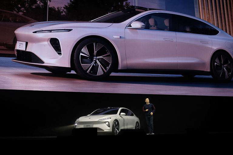 William Li, founder and CEO of Nio Inc., unveils the ET7 electric sedan at a product launch event