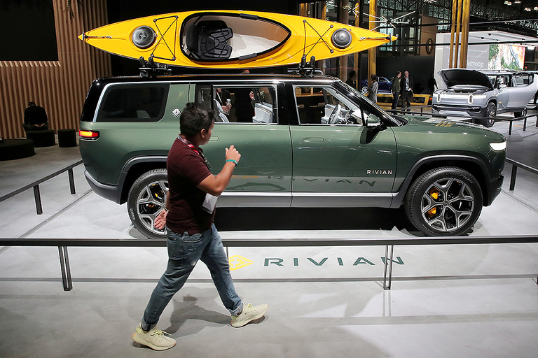 The all-wheel-drive Lincoln SUV could compete against Rivian's R1S (pictured), an electric sport utility vehicle slated to go into production in early 2021. The R1S was on display at the 2019 New York Auto Show.