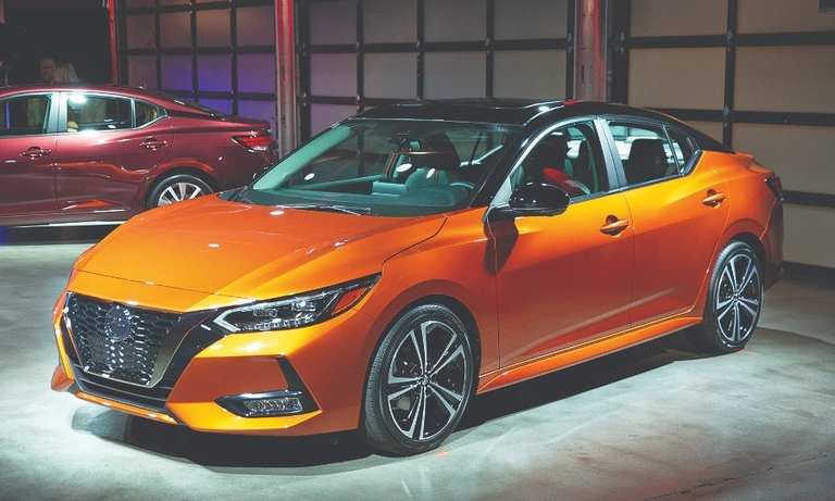 The 2020 Sentra has a low center of gravity and a muscular profile.