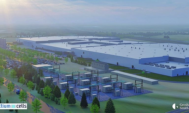 A rendering shows the battery plant GM is spending $2.3 billion to build in Tennessee.