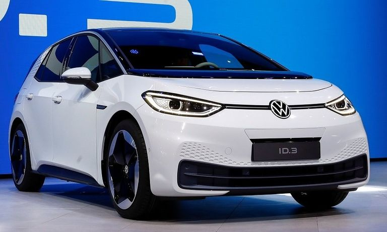 The electric Volkswagen ID3 in white