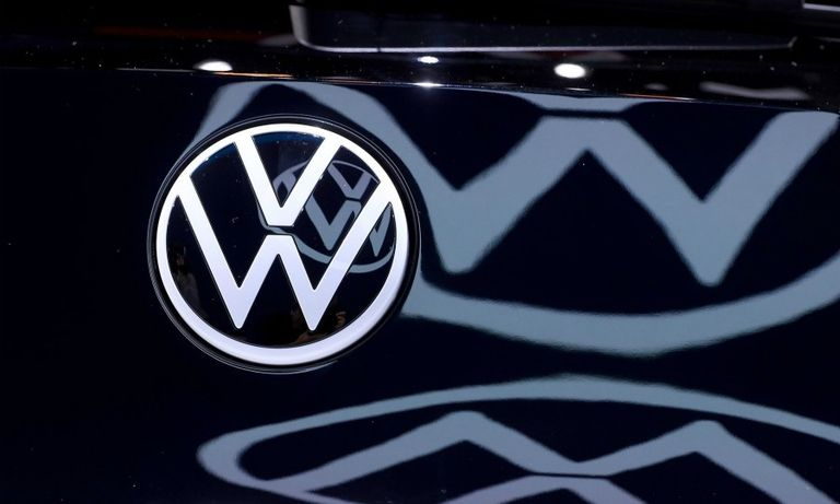 VW logo with reflection