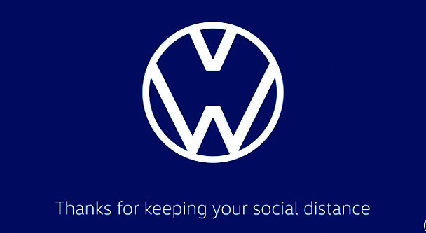 Audi's rings and Volkswagen's letters separate in new videos to promote safety during the COVID-19 outbreak.