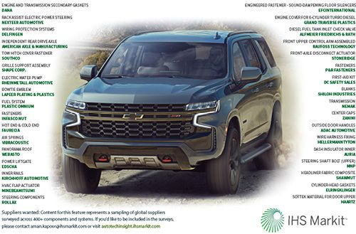 Suppliers to the 2021 Chevrolet Tahoe