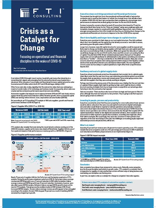 FTI Consulting: Crisis is a catalyst for change, part 1