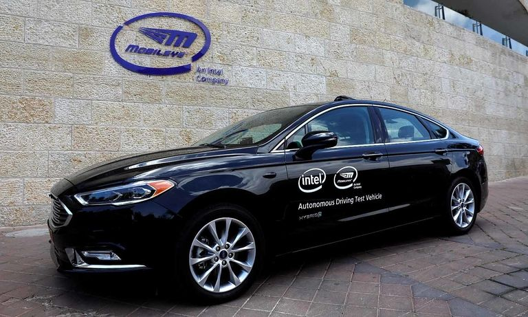 A car equipped with Intel's Mobileye