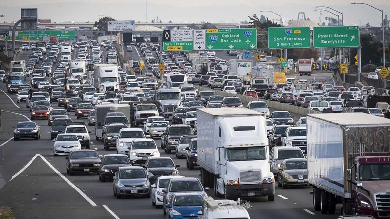 Congested highway traffic in California