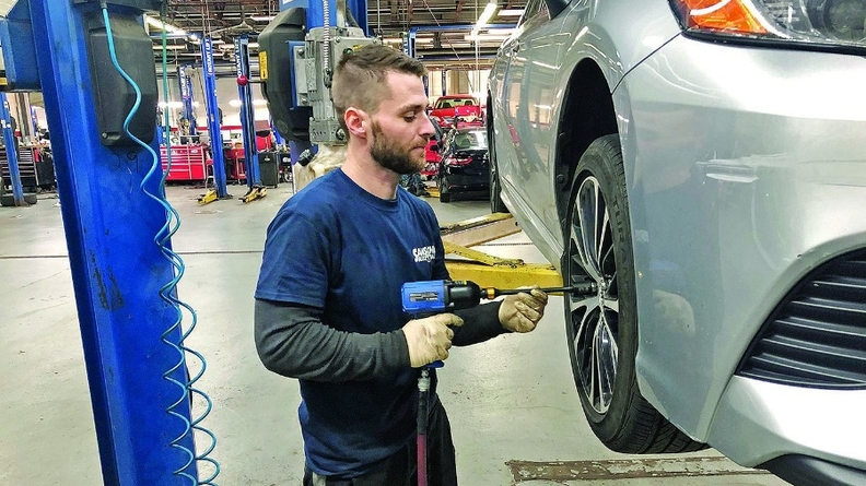 """""""I had never even picked up an impact gun,"""" says apprentice Justin Moran, """"but now I'm able to change brakes, I can do tire rotations, alignments, oil changes and even some troubleshooting."""""""