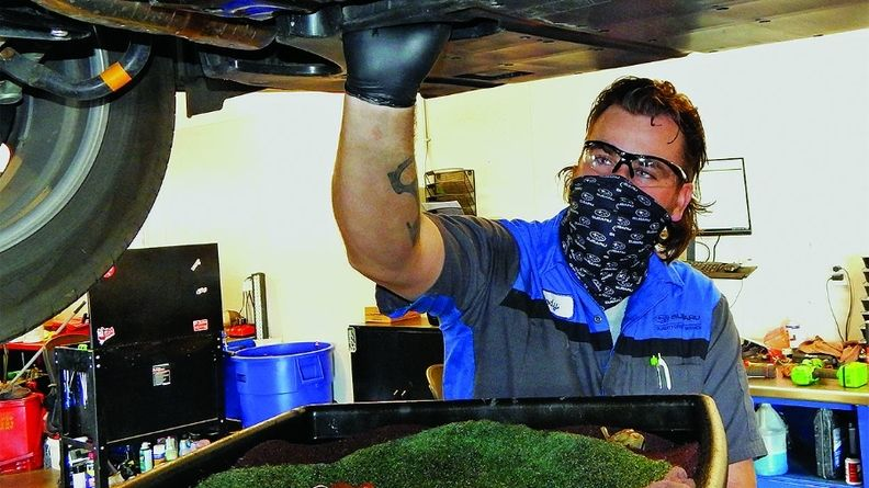 The reverse early-bird offers at Findlay Subaru Prescott in Arizona can include discounts on oil changes, left, from1 to 5 p.m. weekdays. The discounts are switched up to keep the special fresh.