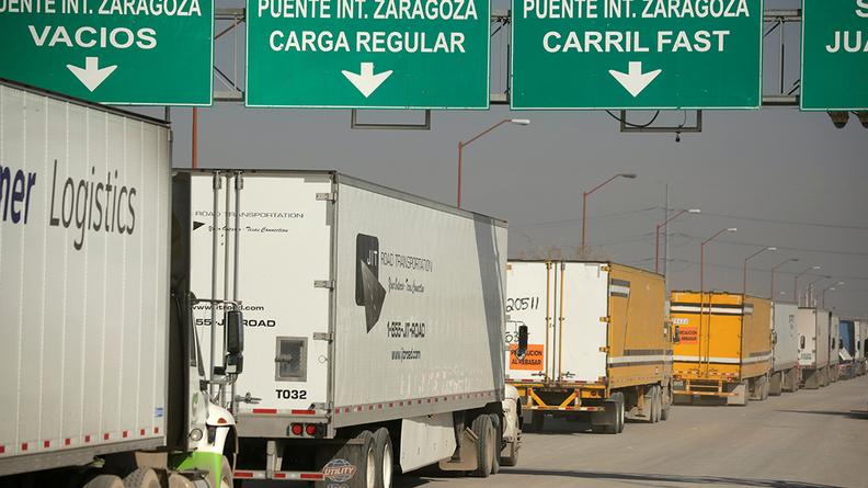 Trucks at the US-Mexico border