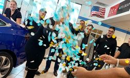 Gender reveal for employee Lindsay during a busy Saturday right in our showroom