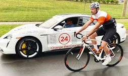 A Porsche Taycan provided by Hendrick Porsche was the pace car for a 24 Foundation cycling event. Names on the car honor those affected by cancer.