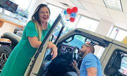 Sales Manager Lana Marajanovic and Sales Professional Nick Swanson work on their walkaround skills.