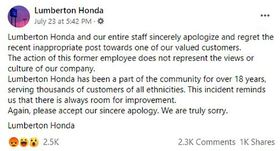 North Carolina dealership faces backlash after social media post uses derogatory term for Black customer