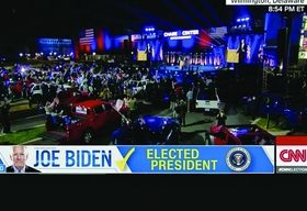The Biden campaign set up rows of red, white and blue vehicles, many of them Jeeps, so supporters could stay a safe distance apart.