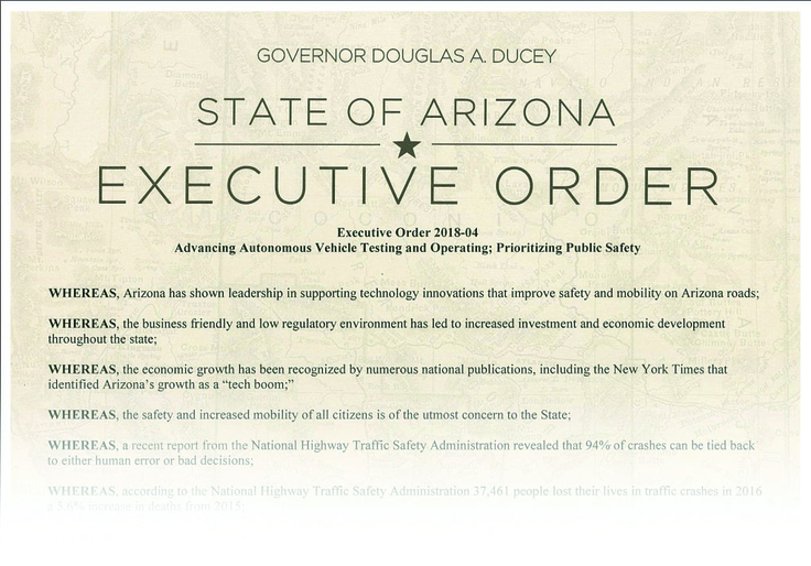 State of Arizona executive order