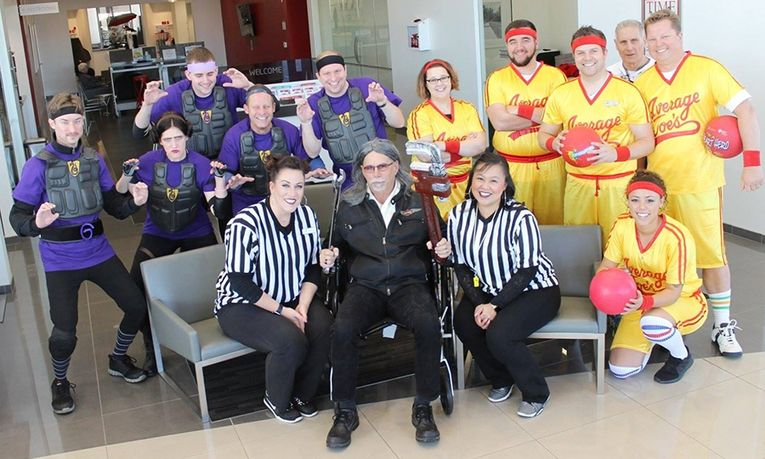 "Bergstrom Kia of Appleton employees dressed as ""Dodgeball"" characters to win the annual company Halloween costume contest."