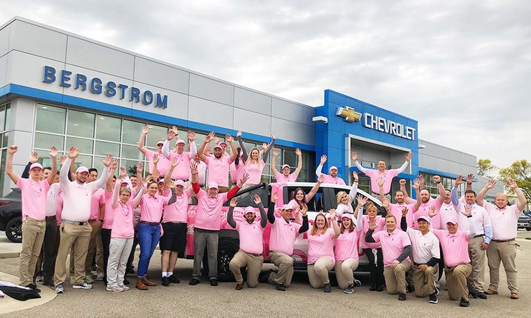 Bergstrom Chevrolet of Madison holds an annual driving event to benefit breast cancer research efforts at the University of Wisconsin Carbone Cancer Center.