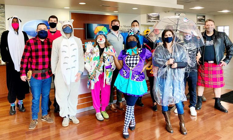 LaFontaine Subaru employees in the dealership's Halloween costume contest