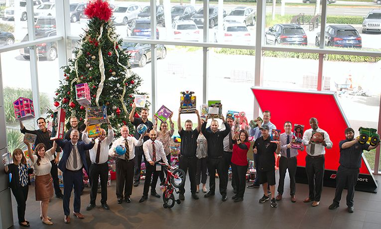 The Audi Stuart staff conducted a holiday gift drive alongside Guardians for New Futures to benefit underserved and maltreated youth.