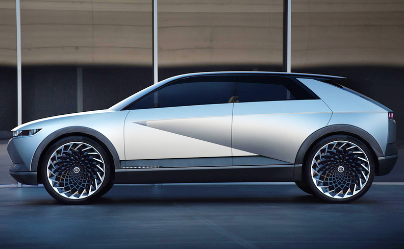 The 45 concept takes cues from the 1974 Hyundai Pony Coupe Concept.