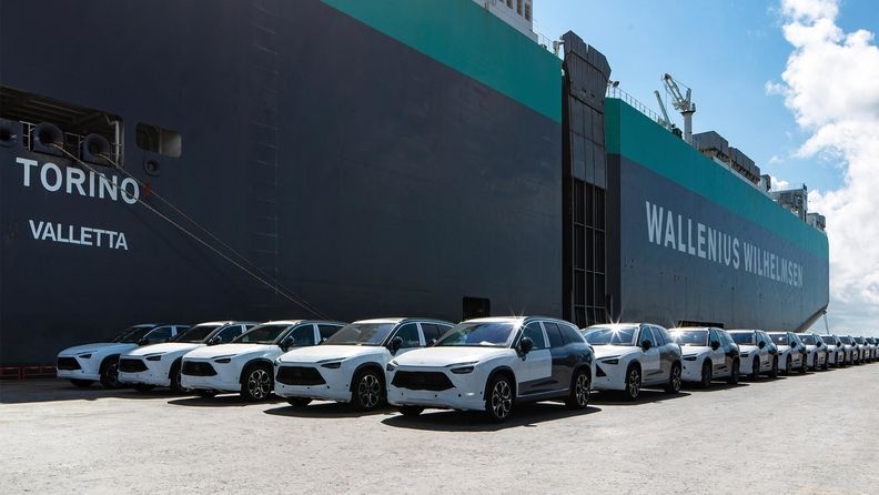 An ocean liner carrying the Nio ES8 SUVs left Shanghai's Waigaoqiao port for Norway on Thursday.