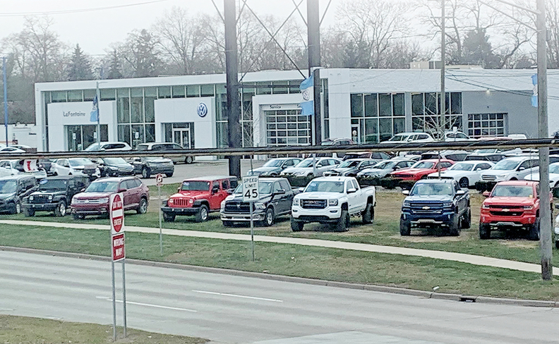LaFontaine Volkswagen of Dearborn uses its high-visibility location to market the lifted pickups.