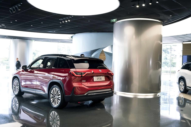 A Nio ES6 electric crossover on display at the automaker's showroom in Beijing last year.