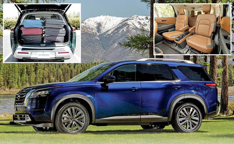 The 2022 Nissan Pathfinder midsize crossover increases interior space by about 10 cubic feet and touts easier third-row access.