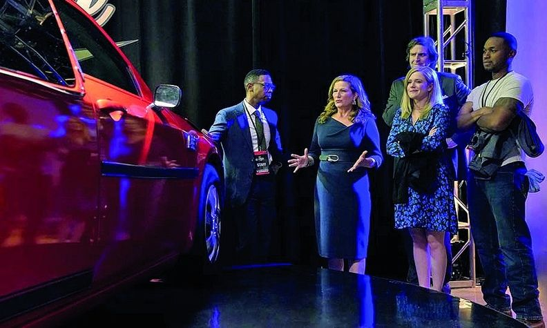 "Ana Gasteyer, second from left, stars as the CEO in the comedy ""American Auto,"" which is set to air during the 2021-22 season on NBC."