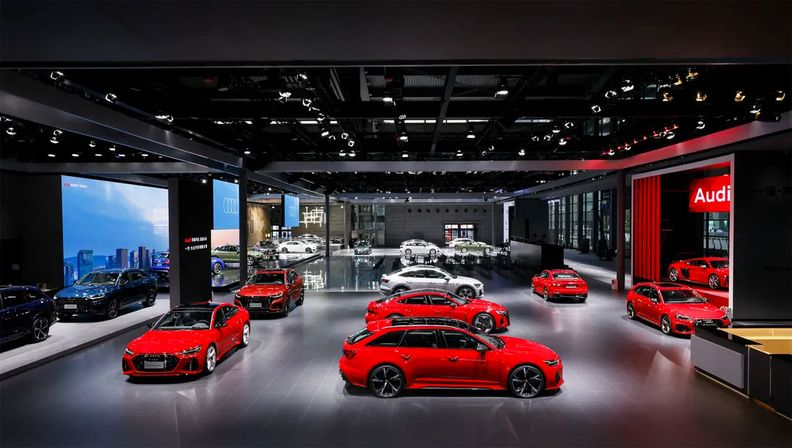 Audi's booth at the Shanghai auto show in April 2021