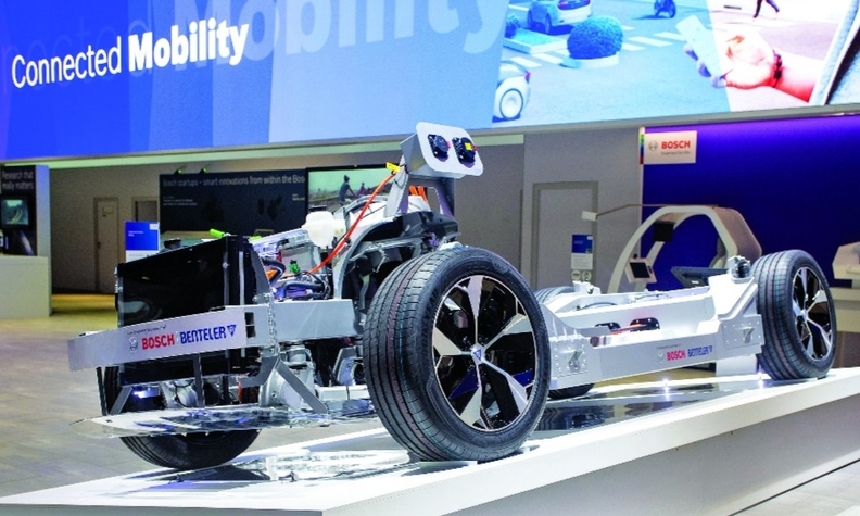 This modular electric rolling chassis platform, co-developed by Benteler and Bosch, was shown at CES this month.