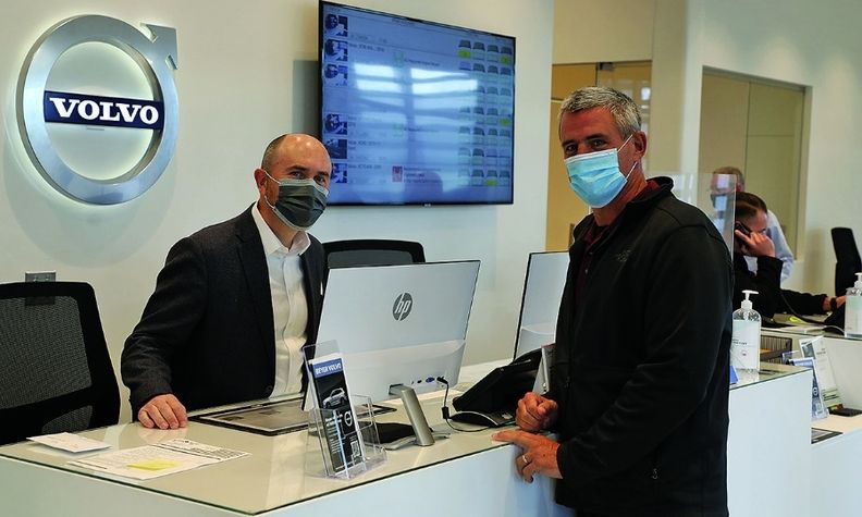 Beyer Auto Group COO John Altman, left, with Fixed Operations Director Patrick Brooke at the group's Volvo dealership in Falls Church, Va.