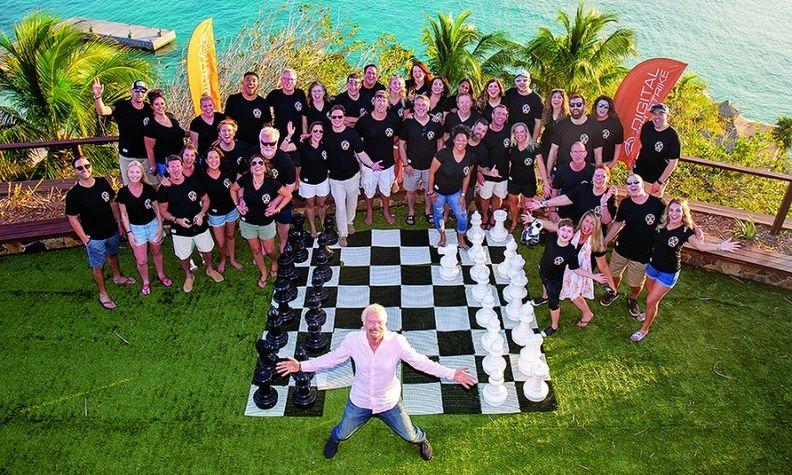 Digital Air Strike guests on Richard Branson's island