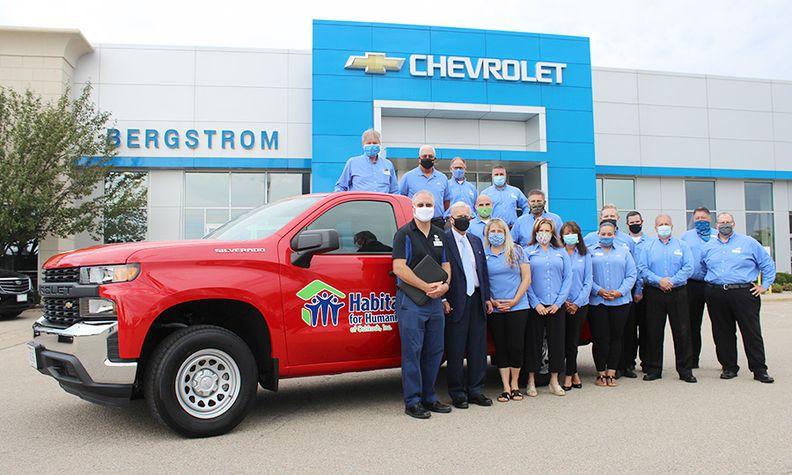 Bergstrom Chevrolet-Buick-GMC-Cadillac of Oshkosh donates a new truck to Habitat for Humanity.