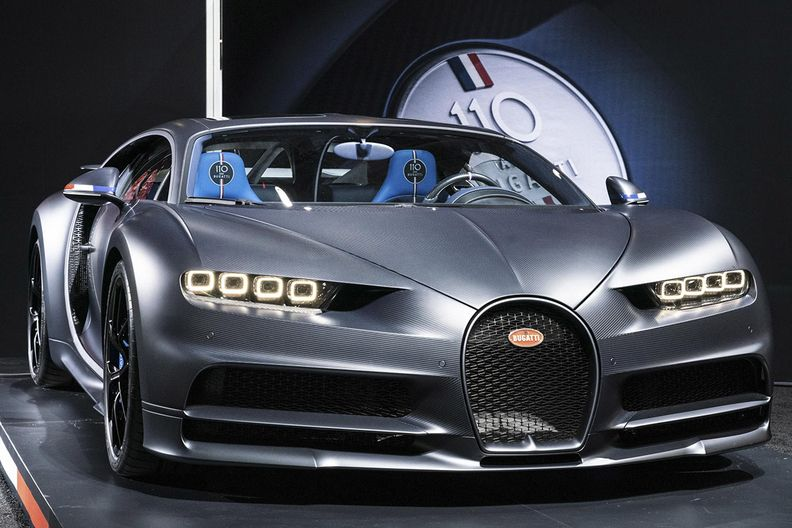 A Bugatti supercar on display