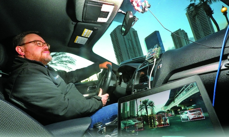 Cartica COO Barak Matzkevich shows the company's reinvention of artificial intelligence to facilitate active safety during a demonstration as part of CES in January in Las Vegas.
