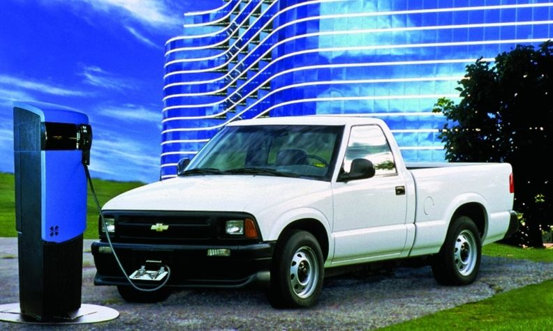 The 1997 Chevrolet S-10 Electric had 27 lead-acid batteries and could go up to 45 miles on one charge.