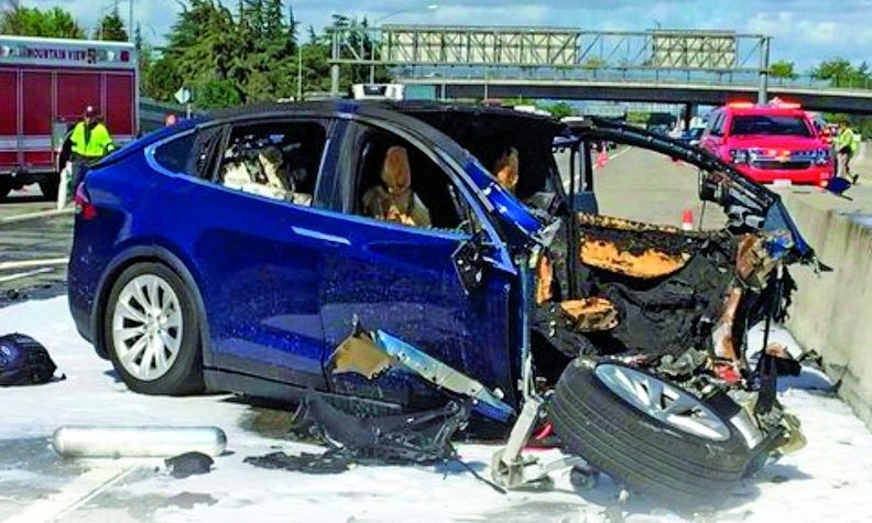 Crashes involving electric vehicles, such as that of a Tesla Model X in California in 2018, pose battery-fire concerns for first responders.
