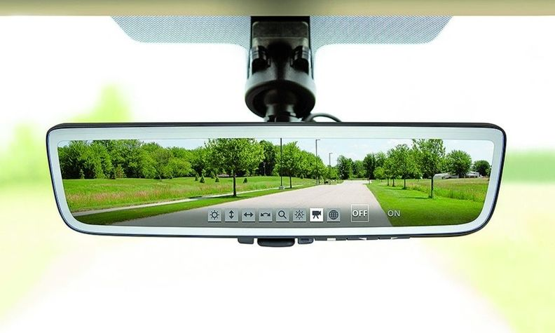 The rearview mirror displays images from a camera.