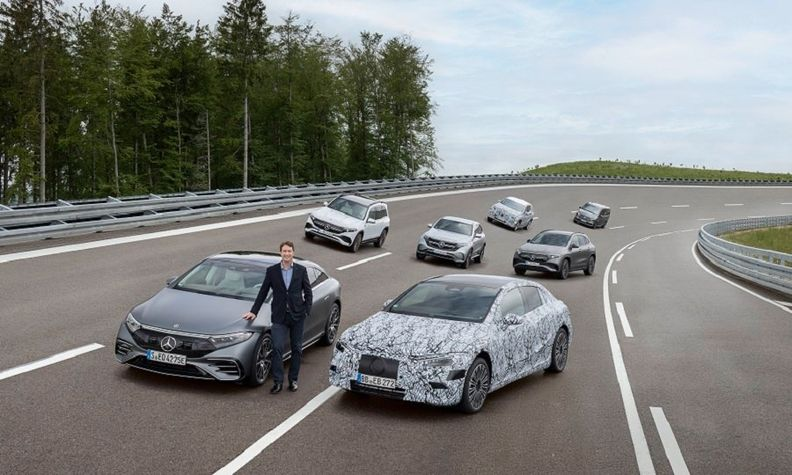 Daimler CEO Kallenius is shown with the Mercedes EQ family at the automaker's Immendingen test track in southern Germany.