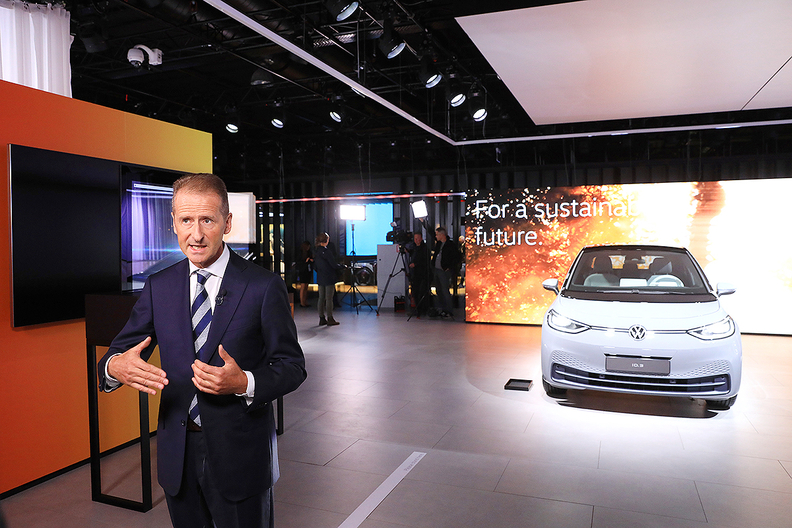 """Volkswagen CEOHerbert Diess, speaking at the Frankfurt auto show, said the U.S.-China trade war """"is really influencing the mood of the customers, and it has the chance to really disrupt the world economy,"""""""