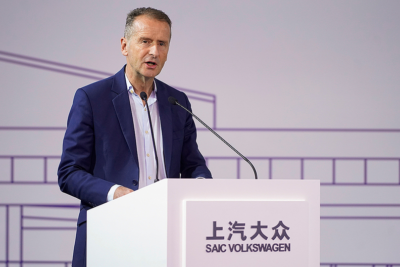 Volkswagen Group CEO Herbert Diessspoke duringa construction completion event at the SAIC Volkswagen MEB electric-vehicle plant in Shanghai.