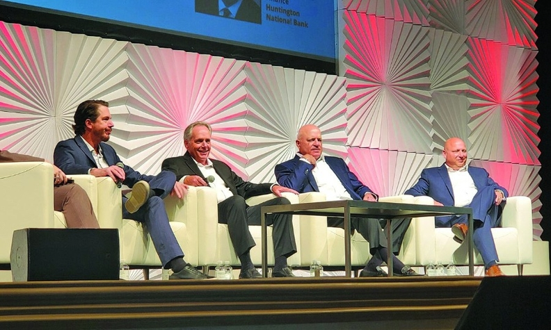 Executives from some of the largest U.S. auto lenders debate the viability of 84-month car loans. From left, Ian Anderson of Westlake Financial Services, GM Financial's Kyle Birch, Charles Bradley of Consumer Portfolio Services and Huntington Auto Finance's Rich Porrello.