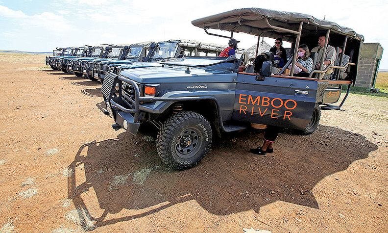 Emboo River Camp uses an electric safari vehicle to drive tourists around Kenya's Maasai Mara Reserve.